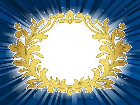 Golden festive wreath on blue star burst background Vector