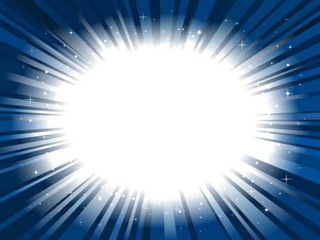 Star burst background blue frame Vector