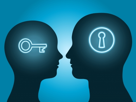 man and woman head silhouette with key and lock symbol communicating Illustration