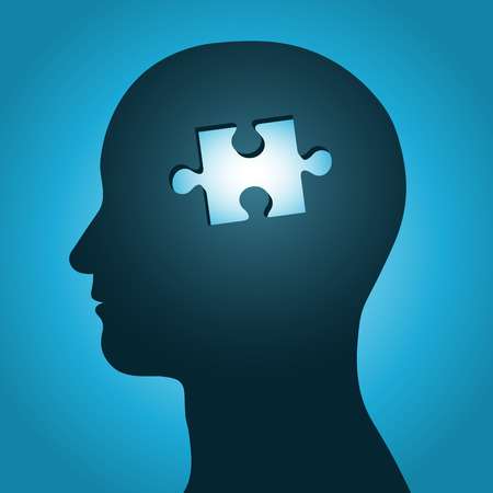 brain and thinking: man head silhouette with missing jigsaw puzzle peace