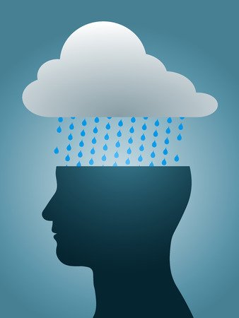 dark cloud: depressed head silhouette with dark rain cloud