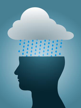 persona deprimida: silueta de cabeza deprimido con nubes de lluvia oscura