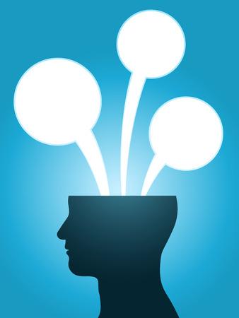 マンガの吹き出し: 頭のシルエットのコピー スペースを持つ音声バブル思考