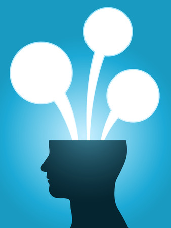 head silhouette speech bubble thoughts with copy-space Stock Illustratie