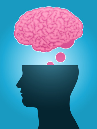 head silhouette brain thought Vector
