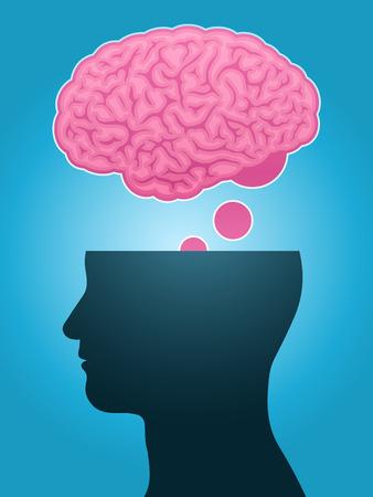 head silhouette brain thought Illustration