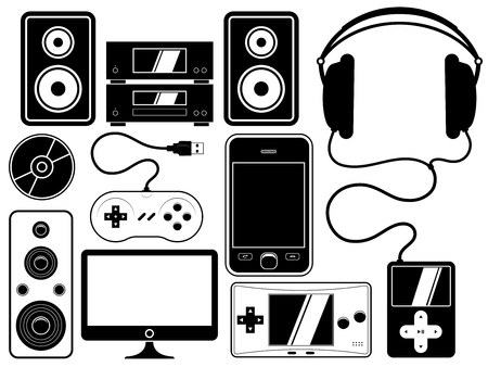 home entertainment leisure device collection set Vector