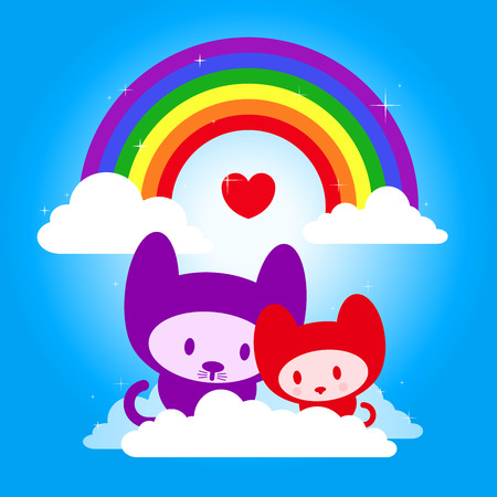 cute kitten couple with rainbow in love Vector
