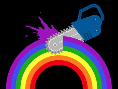 chainsaw destroying rainbow Stock Vector - 8927267