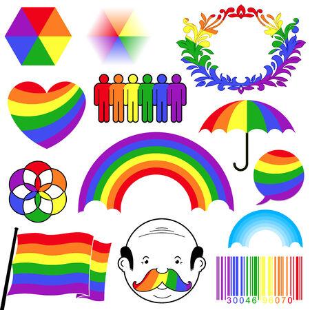 rainbow colour icon collection Vector