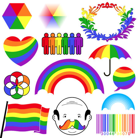 rainbow umbrella: rainbow colour icon collection
