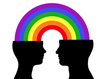 rainbow colours: head silhouette couple rainbow communication