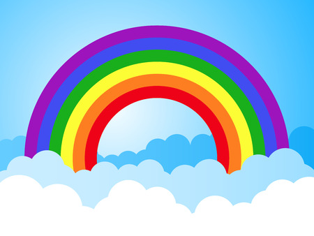 rainbow colours: rainbow sky with clouds cartoon background Illustration
