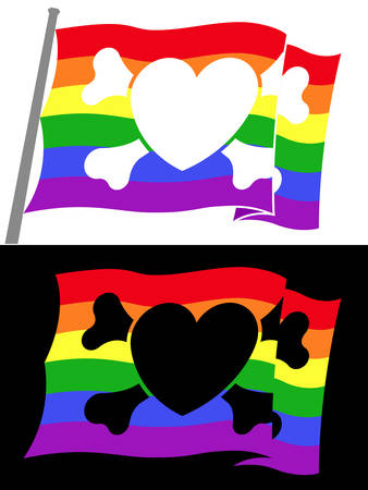 homosexuality: rainbow pirate flag with heart jolly roger
