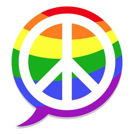 peace icon rainbow speach bubble Stock Vector - 8927236