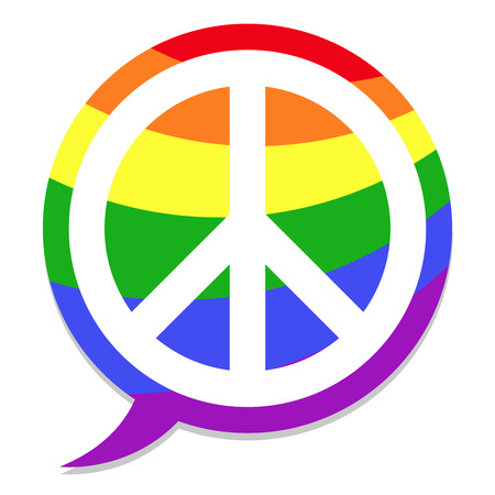 homosexuality: peace icon rainbow speach bubble Illustration
