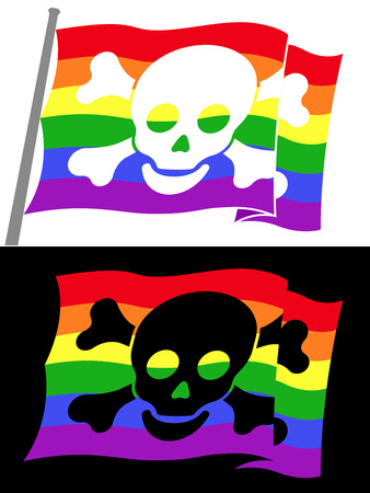 rainbow pirate flag with skull jolly roger Vector