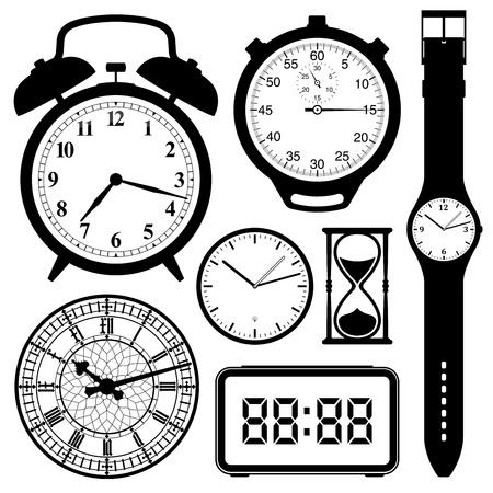 cronógrafo: reloj y reloj colección blanco y negro Vectores
