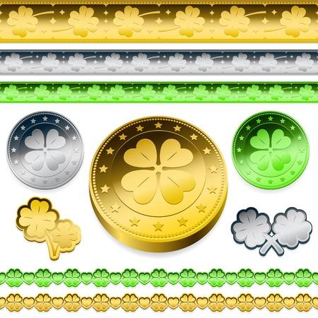 golden shamrock token coins set Vector