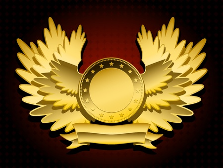 token: golden shiny coat of arms with wings and banner on dark background