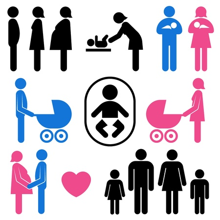 family and baby icon set Vector