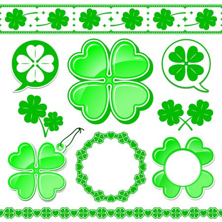 lucky clover: shamrock design elements collection Illustration