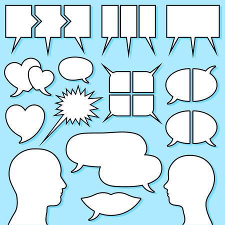speech bubble set with male and female head silhouette Vector