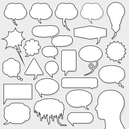 speech bubble set with male head silhouette Vector
