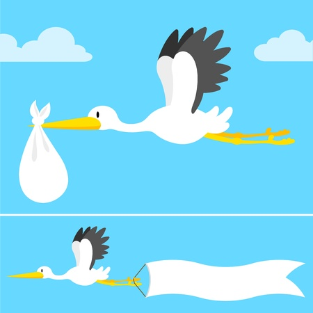 cartoon stork flying with banner and bundle