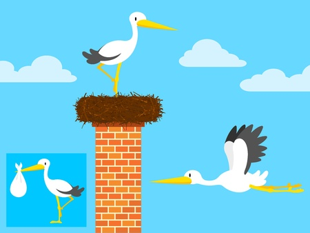 cartoon stork in nest on chimney and flying