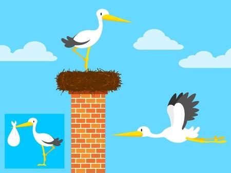 Cicogna di cartone animato nel nido sul camino e volanti