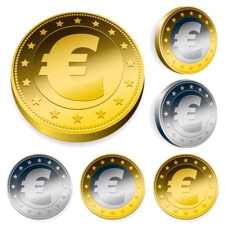 shiny euro currency token coins set Stock Vector - 10028099