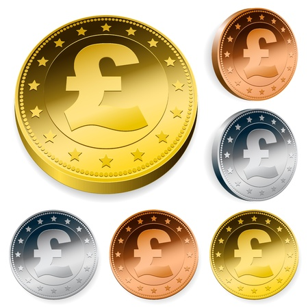 token: shiny pound currency token coins set
