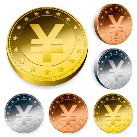 shiny yen currency token coins set Vector