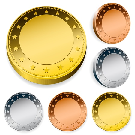 blank shiny token coins set with copy space Stock Illustratie