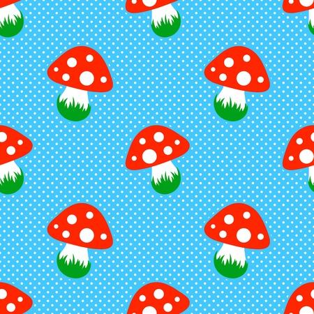 pattern pois: blu modello a pois con funghi fungo rosso seamless