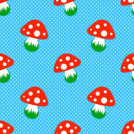 a fly agaric: blue polka dot pattern with red toadstool mushroom seamless