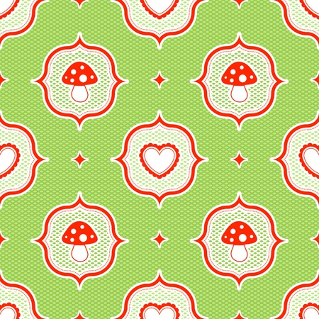 a fly agaric: green polka dot pattern with red toadstool mushroom and heart seamless Illustration