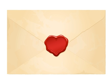 wax: aged vintage envelope with blank heart wax seal