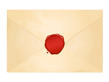 aged vintage envelope with blank wax seal Vector