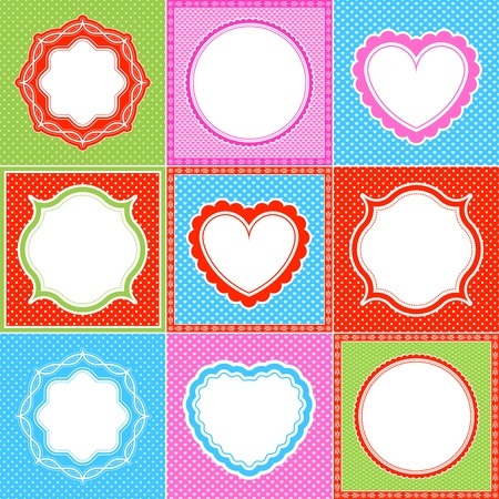colorful polka dot frame pattern heart collections Vector