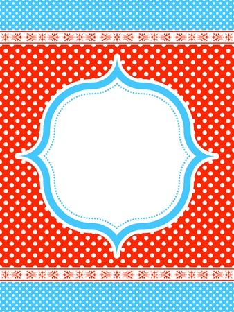 blue and red polka dot pattern frame   イラスト・ベクター素材