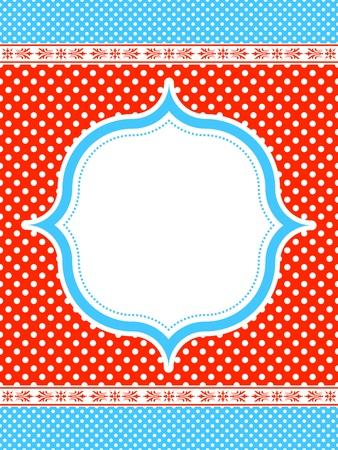blue and red polka dot pattern frame  Stock Illustratie
