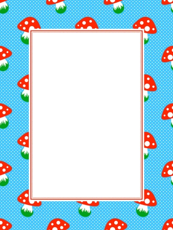 blue polka dot pattern frame with red toadstool mushroom Vector