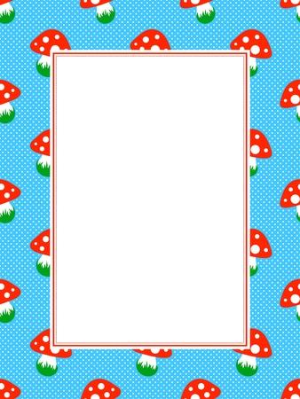cartoon mushroom: blue polka dot pattern frame with red toadstool mushroom