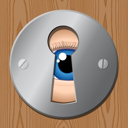 eye looks through keyhole � peeping tom Vector
