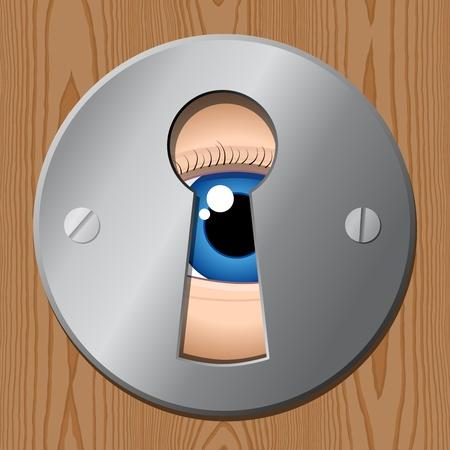 look at: eye looks through keyhole � peeping tom Illustration