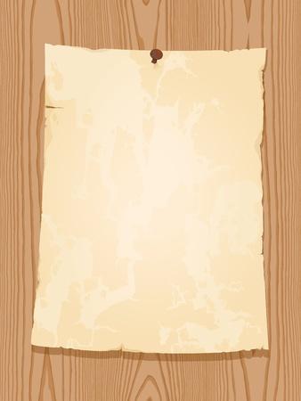 aged vintage paper on wooden background Stock Illustratie