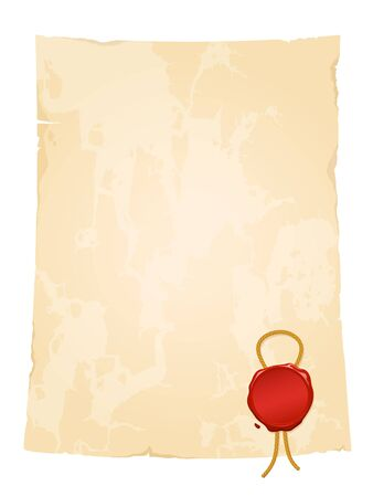 aged vintage paper sheet with blank wax seal Vector