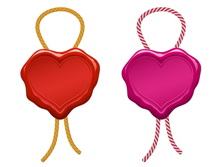 red blank heart wax seal with string Vector